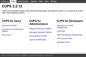 CUPS Web User Interface
